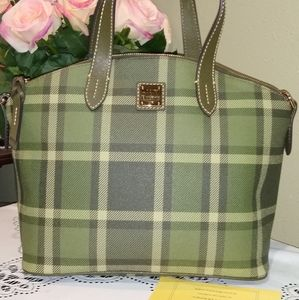 DOONEY AND BOURKE OLIVE PLAID SATCHEL